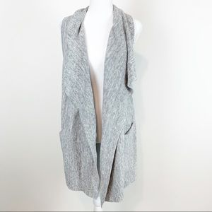 H&M waterfall duster cardigan vest heather gray